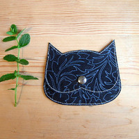Black Cat coin purse, Catnip pouch, printed suede cat bag, botanical print leather cat purse