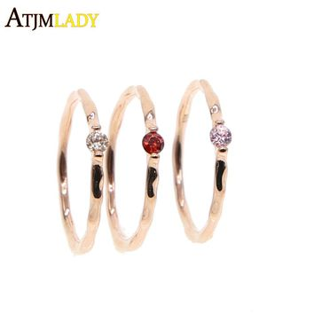 rose gold color birthstone single stone thin band 925 sterling silver size 5 delicate women girl thin midi cz ring