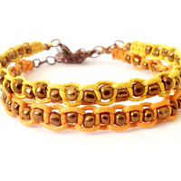 Macrame Bracelet Set, Orange and Yellow, Glass Beads, Beaded Bracelet