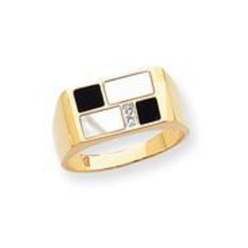 14k Yellow Gold Onyx, Mother of Pearl & Diamond Mens Ring