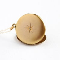 Antique Diamond Locket - Vintage Edwardian 12k Gold Filled Round Star Incised Necklace - 1900 Starburst Fob Photograph Jewelry Signed SKM Co