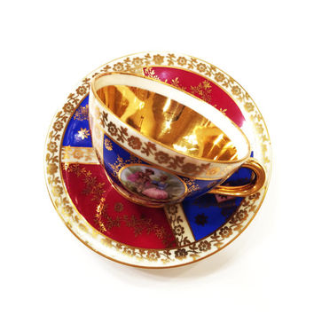 Antique Fragonard Demitasse Set, Porzellanmalerei Parbus (P&P), Bavaria, Gold, Maroon, Blue, 1949-1955