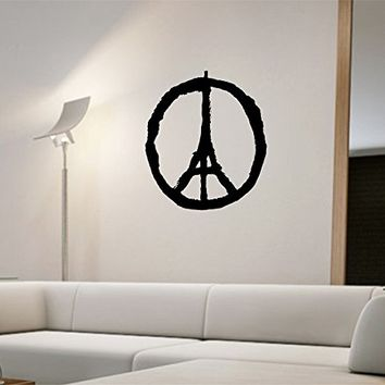 Peace Sign Paris Eiffel Tower Wall Decal Vinyl Art Home Decor
