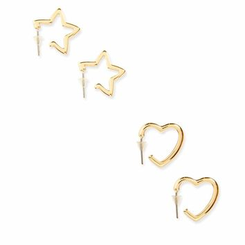 Star & Heart Earring Set