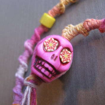 Pink Ombre Hairwrap with sugar skull bead - macrame atebas hair wrap