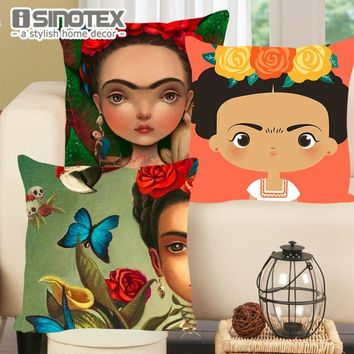 Cushion Cover Cartoon Frida Kahlo Flowers Pillowcase Woven Pillow Covers Polyester&Linen Home Decor 43x43cm 17x17'' 1PCS Lot