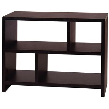 Modern 2-Shelf Bookcase Console Table in Black Wood Finish