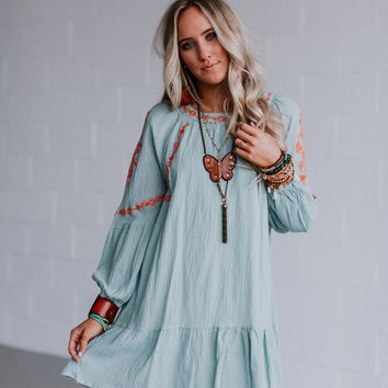 Hayden Embroidered Mini Dress - Mint