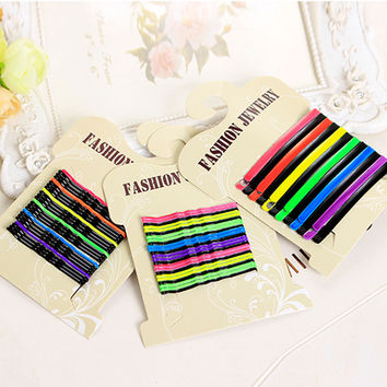 Colorful Popularity Simple Hairpins Black Alloy Sleek Painted Hair Clips Bobby Pins Hair Accessories Headwear