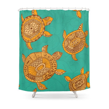 Society6 Tropical Sea Turtles Shower Curtains