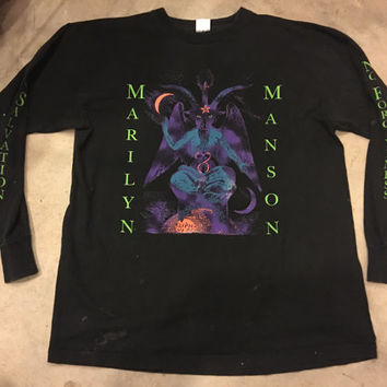 Vintage 1990's Marilyn Manson Satan Gothic Industrial Metal T-Shirt Long Sleeve Rare