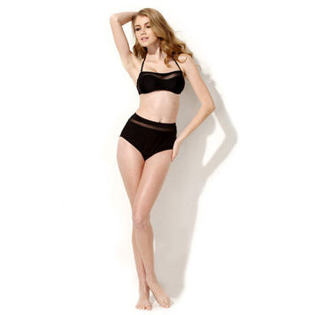 See-Through Mesh Black High Waisted Two-Piece Sexy Erotic Bikini Swim Suit Batching Suit Swimwear _ 1464
