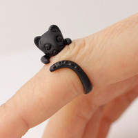 Kitty Cat, Matt Black Cat, Adjustable Animal Rings,  Ring Women's Teen's Retro Burnished Jewelry Black Crystal Wrap Ring