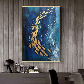 Original Modern Abstract Gold fish acrylic ocean Sea painting On canvas Navy blue texture extra Large agate Wall Art Pictures cuadro quadros