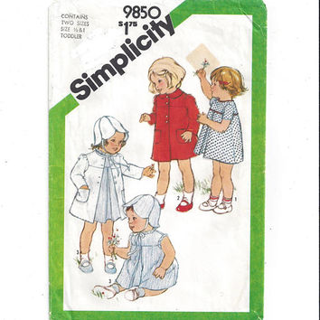 Simplicity 9850 Pattern for Toddler Girls' Dress, Coat, Reversible Hat, Size 1/2 & 1, from 1980, Vintage Pattern, Home Sewing Pattern