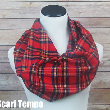 Red Plaid Scarf, Red Infinity Scarf, Red Plaid Infinity Scarf, Tartan Scarf, Plaid Scarf, Loop Plaid Scarf , Circle Scarf.Women's Scarf.