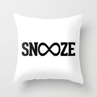 Snooze Forever Pillow Throw Pillow by RexLambo
