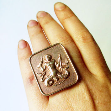 AQUARIUS. Adjustable Zodiac Cocktail Ring. Astrology / Horoscope Jewelry