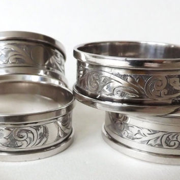 4 Sterling Silver Napkin Rings, Wedding Table, Silver Serviette Rings, Napkin Holder, Wedding Gift Engagement Gift, Dining Table Accessories