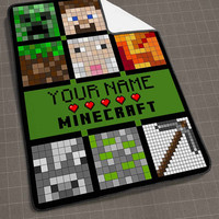 Minecraft Quilt Face Personalized Your Name blanket, funny blanket, cute and awesome blanket