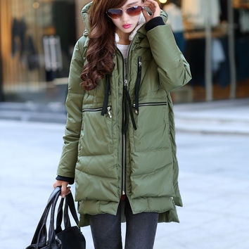 Free shipping Brand Ladies Fashion Thick Military Style Goose Down Jacket Parka Long Women's Winter Coats Outwear