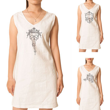 Women Pagan Sculls Printed Vintage Short Sleeves Linen Mini Shift Dress WDS_02