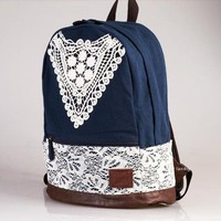 Navy Blue with Crochet Lace Backpack