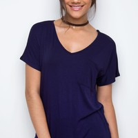 Nina Basic Top - Navy