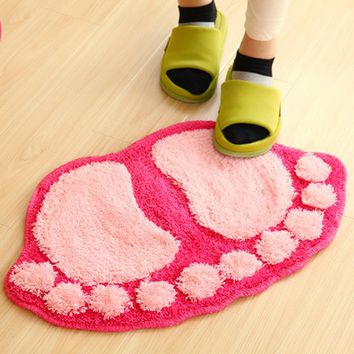 38.5*58.5cm Bath Mat Rug Non-slip Knitting Wool Bathroom Carpet Super Soft Footprints Carpets for Bathroom Bedroom