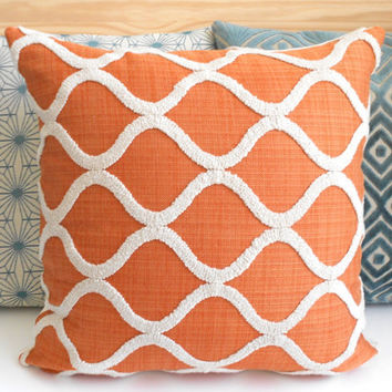 Orange and cream tufted trellis decorative pillow cover