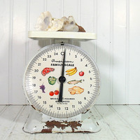 Chippy White Paint American Family Scale - Vintage Enameled Metal with Litho Color Face - All Original Barn Find Condition