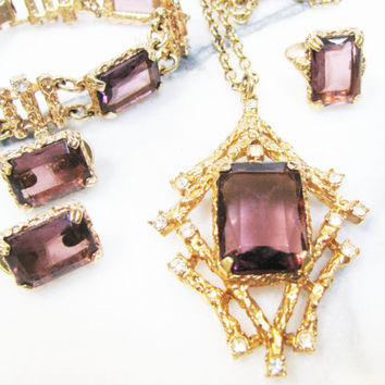 Vintage Amethyst Jewelry Set - Sarah Coventry Full Parure - Twilight Series - Necklace, Bracelet, Earrings, Ring - Christmas Gift