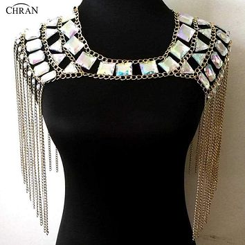 Chran AB Irridescent Crop Top Rave Bra Necklace Burning Man Festival Cosplay Wear EDC Outfit Festival EDM Girls Jewelry CRN2803 Macchar Cosplay Catalogue