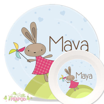 Personalized Melamine Plate and Bowl Set - Sweet Flying Girl Bunnies Design