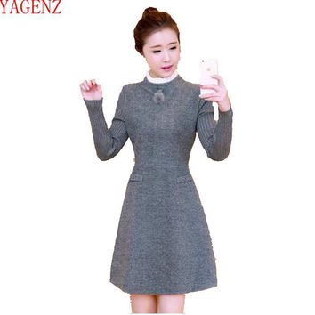 Young woman Autumn and winter clothes Korean version Large size Wool dress Long sleeves Temperament Fashion Women clothing 771