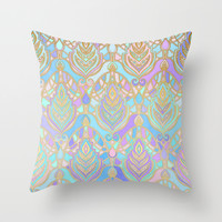 Jade & Blue Enamel Art Deco Pattern Throw Pillow by Micklyn