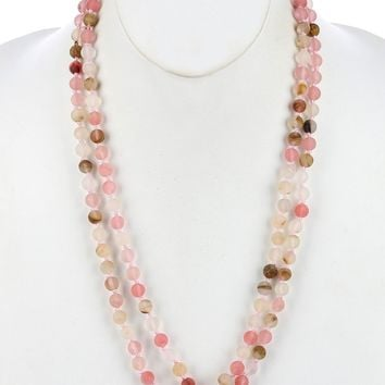 Mulit Color Natural Stone Bead Extra Long Wraparound Necklace