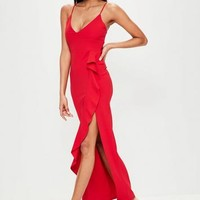 Missguided - Red Frill Front Cami Maxi Dress