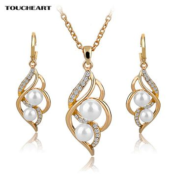 Luxury  TOUCHEART Simulated Pearl Indian Wedding Jewelry Sets for Women Bridal Crystal Gold color Earrings Statement Necklaces