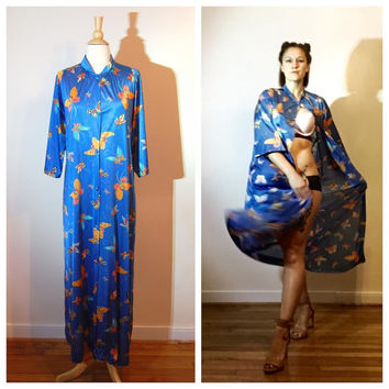 70s Vanity Fair Robe Blue Butterfly Print Button Down Bell Sleeve Silky Dressing Gown Lingerie Robe size Medium
