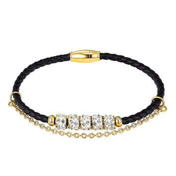 14k Gold Finish Iced Out Rings Charm Black Single Row Leather Bracelet Magnetic Clasp