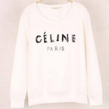 CELINE winter new fresh sweater female loose sets of student bottoming shirt White
