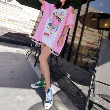 """Supreme"" Fashion Loose Casual Cartoon Peppa Pig Letter Print Multicolor Short Sleeve Middle Long Section T-shirt Mini Dress"