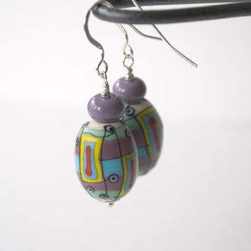 SPRING SALE Purple Earrings, Colorful Earrings, Abstract Earrings, Lampwork Glass Earrings, Beaded Earrings