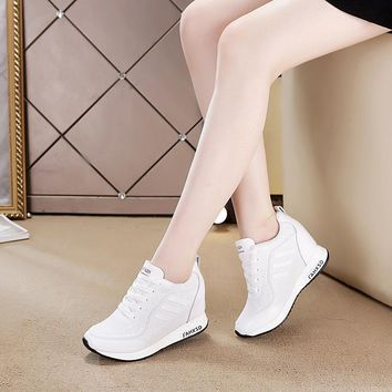 Breathable Mesh Women Shoes Sports Flat Wind Wedges Increase Wild Single Shoes Woman Height Increasing Walking Shoes 6.5cm Heel