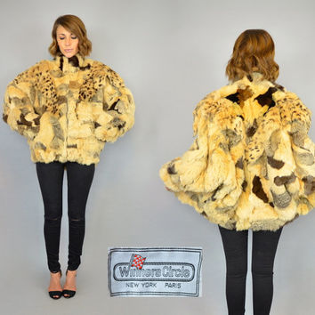 vtg 80's RABBIT FUR multicolored patchwork 'Winners Circle' avant garde BATWING coat cape, extra small-small
