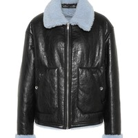 Reversible leather shearling jacket