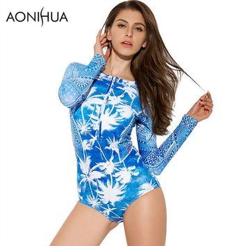 One Piece Bathing Suit AONIHUA 2018 Vintage Beach Front zipper One-Piece Swimsuit Women coconut palm Swimwear Long sleeve Push up swimming Suit 9019 KO_9_1