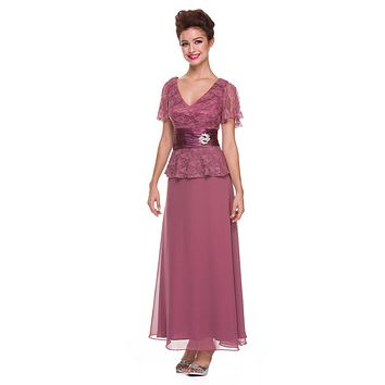 Plus Size Peplum Mother of Groom Dress Rosewood V Neck Ankle Length