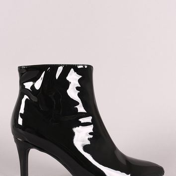 Vegan Patent Leather Pointy Toe Booties